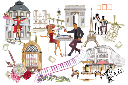 Set of Paris illustrations with fashion girls, cafes and musicians. Vector illustration.