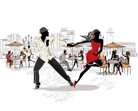 歴史的建造物や人と手描きのベクター建築の背景。情熱的なラテンアメリカのダンスでロマンチックなカップル。サルサフェスティバル。