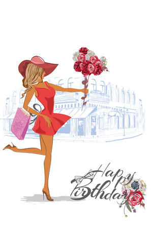 Birthday Card With A Fashion Girl In A Hat And Roses Royalty Free