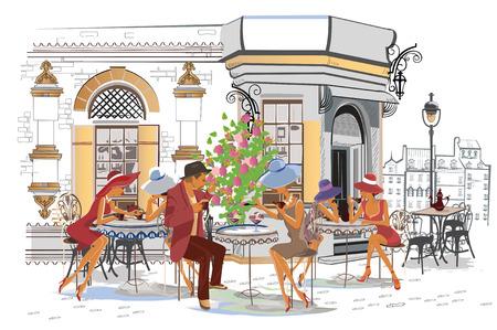Reihe der Straßencafés mit Leuten, Männern und Frauen, in der alten Stadt, Vektorillustration. Kellner bedienen die Tische.