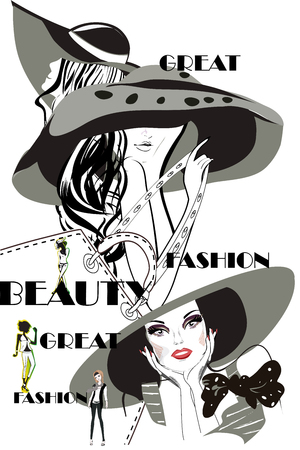 Fashion woman portrait in a hat with flowers and a shopping bag. Vector illustration.