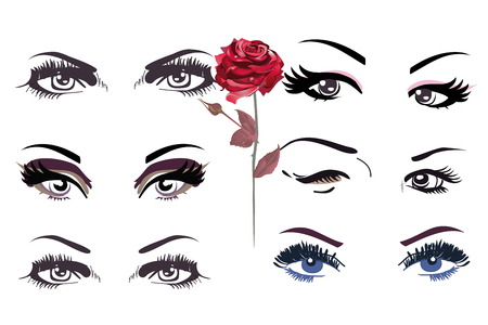 Set of  woman's  eyes with eyebrows and long lashes.Fashion look. Banque d'images - 103043510