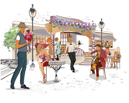 Series of the street cafes with people, men and women, in the old city, vector illustration. Waiters serve the tables. Illustration