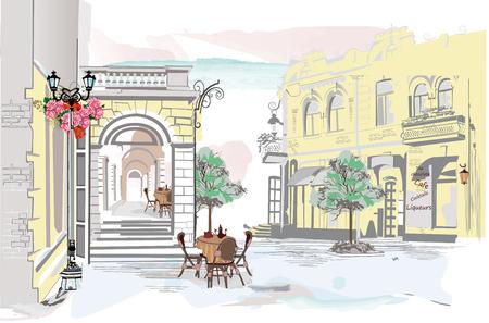 Serie de vistas a la calle con cafés en la ciudad vieja. Fondo arquitectónico de vector dibujado a mano con edificios históricos. Ilustración de vector