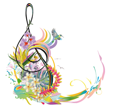 Abstract treble clef decorated with summer and spring flowers, palm leaves, notes, birds. Hand drawn musical vector illustration. 写真素材 - 104517576