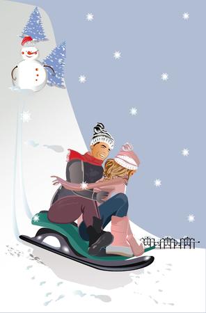 Romantic couple on the sledge. Winter holidays. Hand drawn vector illustration.