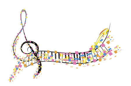 Abstract treble clef decorated with colorful splashes, notes. Hand drawn vector musical illustration.