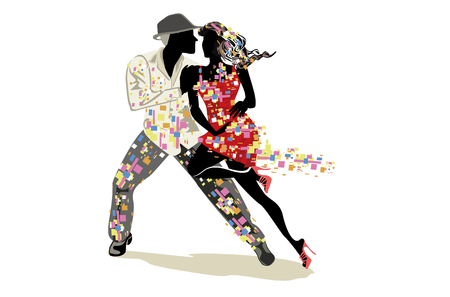Beautiful romantic couple in passionate Latin American dances. Salsa festival. Hand drawn poster background.