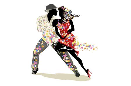 Hermosa pareja romántica en apasionados bailes latinoamericanos. Festival de salsa. Fondo de cartel dibujado a mano.