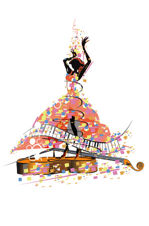 Abstract colorful girl dancer. Salsa festival. Hand drawn poster background.