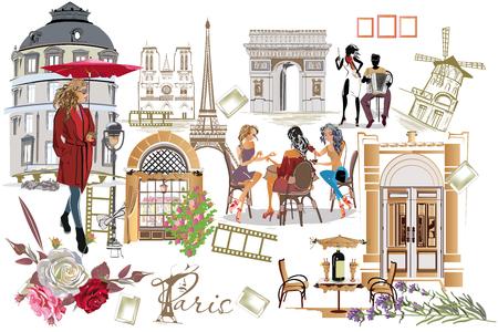 Ensemble d'illustrations de Paris avec des filles de la mode, des cafés et des musiciens. Illustration vectorielle.