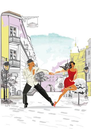 Fondo arquitectónico de vector dibujado a mano con edificios históricos y personas. Pareja romántica en apasionados bailes latinoamericanos. Festival de salsa.