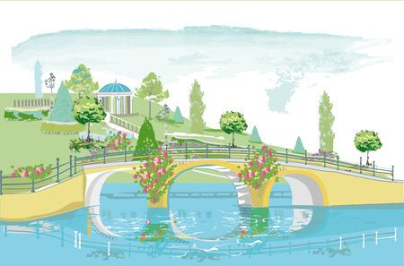 Serie de coloridos paisajes de parques con tres, flores y un puente. Ilustración de vector dibujado a mano. Ilustración de vector
