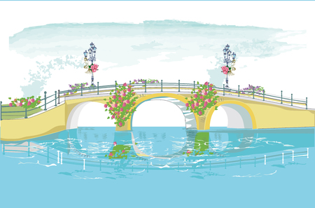 Series of colorful park landscapes with threes, flowers and a bridge. Hand drawn vector illustration.