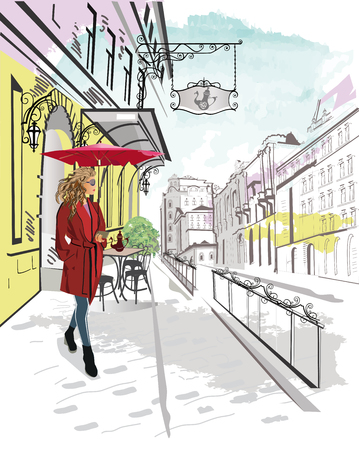Series of streets with fashion people in the old city. Beautiful woman in a red coat and an umbrella.