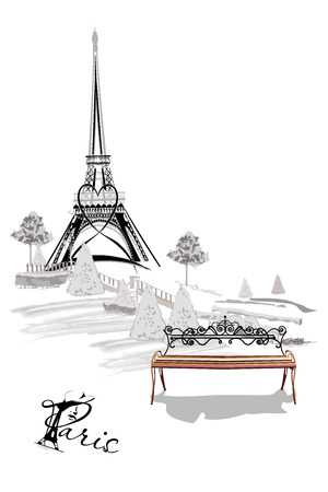 Background with the Eiffel Tower and a bench in the Parisian park. Hand drawn vector illustration.