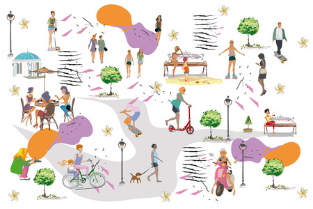 Set of people having rest in the park.  Leisure outdoor activities:  skateboard, roller-skates, riding a scooter and bicycle. Colorful vector illustration.