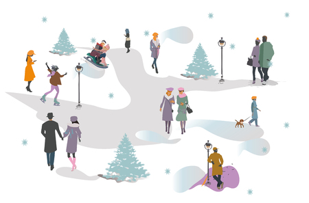 Set of people having rest in the park in winter.  Active leisure outdoor activities. Colorful vector illustration. Illustration