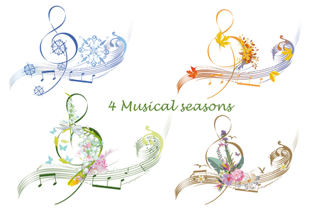Abstract treble clef decorated with summer, autumn, winter and spring decorations: flowers, leaves, notes, birds. Hand drawn musical vector illustration. 免版税图像 - 113080493