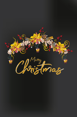 Christmas garland with decorations from Christmas tree branches, lanterns, candles, red and white ribbons, flowers. Christmas decoration card.