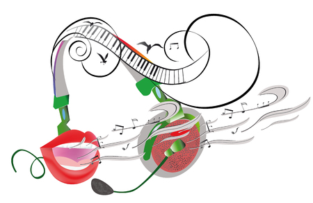 Abstract colorful musical poster design with headphones and musical waves. Hand drawn vector illustration 向量圖像