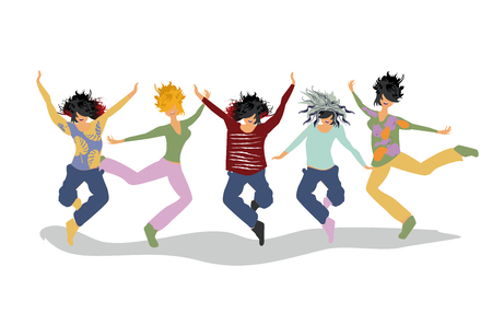 Happy people jumping. Active leisure activities. Colorful vector illustration.
