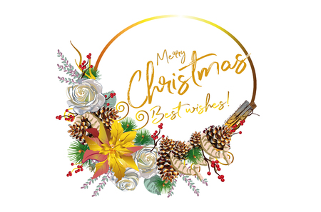 Christmas garland with decorations from wood, spices, flowers. Christmas decoration card. 向量圖像