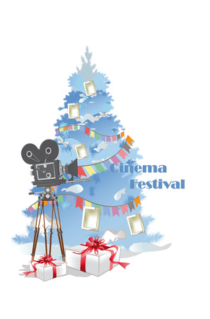 Christmas poster with retro cinema camera and Christmas tree with gifts. Vector illustration.