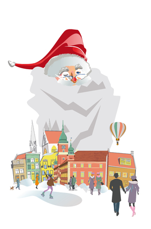 Christmas poster with Santa Claus in the old city. Christmas greeting card. Vector illustration.