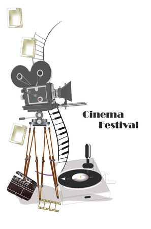 Poster with a retro cinema camera and record-player. Hand drawn vector illustration.