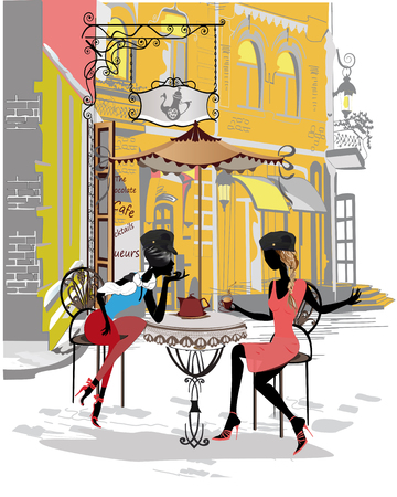 Series of colorful retro street views with fashion people in the old city. Hand drawn vector architectural background with historic buildings. Street musicians.