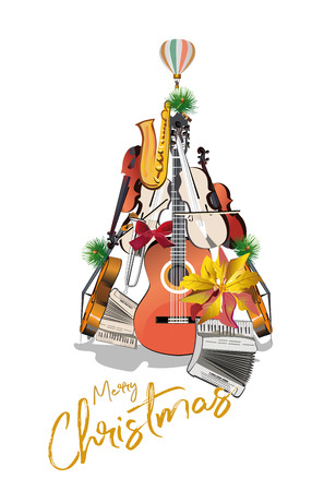 Abstract Christmas tree with musical instruments:a guitar, a violin, trumpet etc. Musical poster. Stock Illustratie