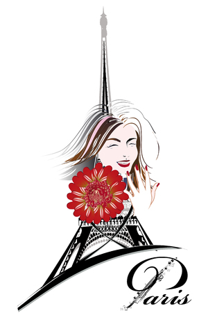 Design with the Eiffel tower and girls, flowers. Hand drawn illustration. Иллюстрация