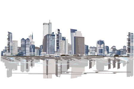 Series of abstract street views in the city. Hand drawn vector architectural background with skyscrapers. 向量圖像