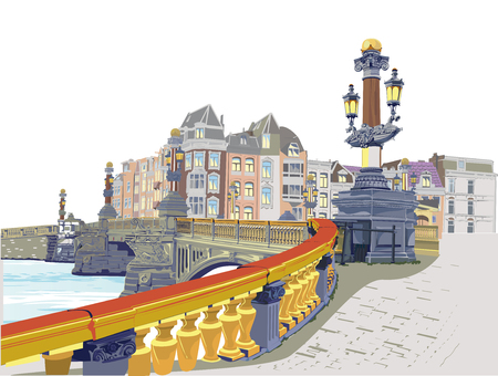 The architectural background with dutch houses and an historic bridge in Amsterdam, Netherlands over the river Amstel  イラスト・ベクター素材