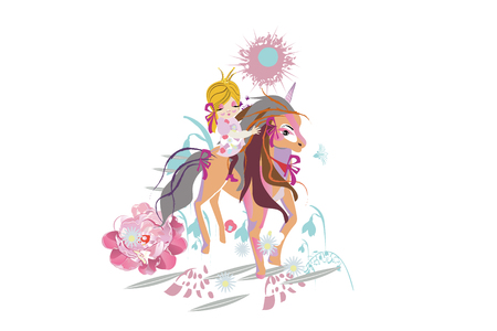 Cartoon cute little girl with a bow and her magical friend unicorn.