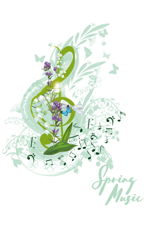 Abstract treble clef decorated with summer and spring flowers, palm leaves, notes, birds. Hand drawn musical vector illustration.