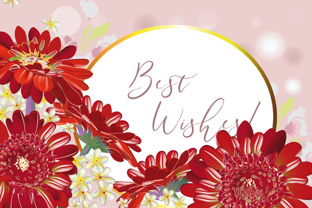 Series of greeting backgrounds with summer and spring flowers. Floral decorations with gerberas. Vector illustration.