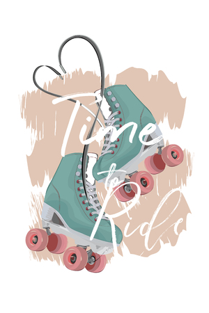 Blue roller skates decorated with roses on pink background. Sport poster. Hand drawn vector.