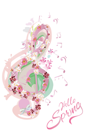 Abstract treble clef decorated with summer and spring flowers, notes. Hand drawn vector illustration.