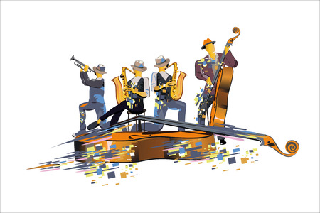 Abstract colorful musical poster design with musicians and musical waves. Hand drawn vector illustration