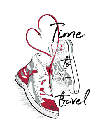Pair of sneakers with laces in the form of heart. T-shirt design. Hand drawn vector illustration.