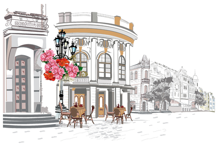 Series of backgrounds decorated with flowers, old town views and street cafes.    Hand drawn vector architectural background with historic buildings. 向量圖像