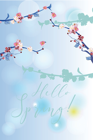 Series of greeting backgrounds with summer and spring flowers. Floral decorations with blossom trees. Vector illustration. 向量圖像
