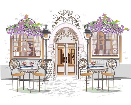 Serie de fondos decorados con flores, vistas al casco antiguo y cafés callejeros. Fondo arquitectónico de vector dibujado a mano con edificios históricos.