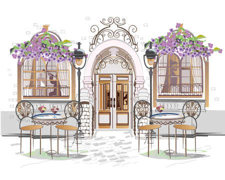 Serie di sfondi decorati con fiori, vedute del centro storico e caffè all'aperto. Fondo architettonico di vettore disegnato a mano con edifici storici.