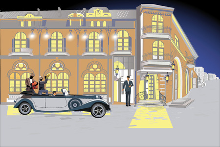 Series of colorful street views in the old city. Hand drawn vector architectural background with historic buildings.