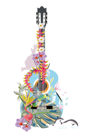 Abstract guitar decorated with summer and spring flowers, palm leaves, notes, flamingo.