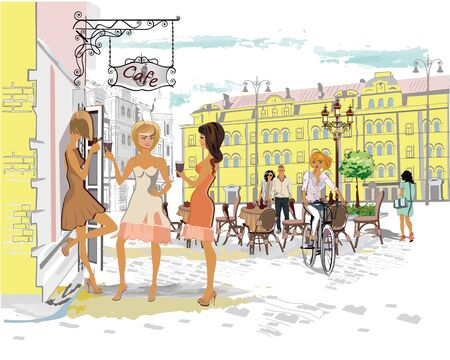 Fashion people in the street cafe. Street cafe with flowers in the old city. Street musicians. Stock Illustratie