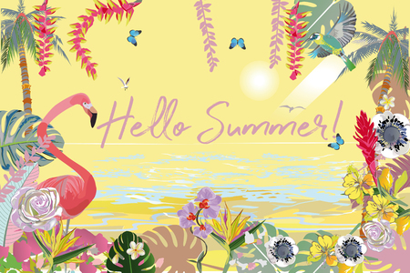 Series of tropical backgrounds with birds and animals. Sandy beach with palm trees and flowers.